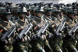 The Korean People's Army special forces were unveiled at a military parade to mark the 105th anniversary of the birth of North Korea's founder last Saturday.