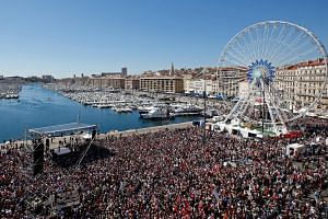 Far-left candidate Jean-Luc Melenchon delivering a speech during a political rally in Marseille on April 9. The perennial outsider is now polling ahead of both the Socialists and Republicans.