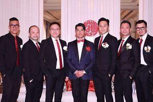 Aaron Kwok and his band of groomsmen.