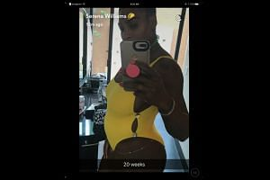 """Williams (above) posted a photograph of herself showing off a bump on her Snapchat account with the caption """"20 weeks""""."""