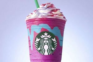 """Starbucks began selling """"unicorn Frappuccinos"""" on April 19, 2017, a coloUrful kaleidoscope of a drink. PHOTO: NYTIMES"""