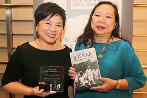 ST Press general manager Susan Long (left) with Ms Susan Sim, whose book on Mr E. W. Barker won Best Non-Fiction Title.