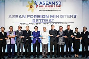 Asean foreign ministers during the photo shoot at their retreat on the Philippine resort island of Boracay in February. The regional grouping is seeking to raise its profile as it marks its 50th year.