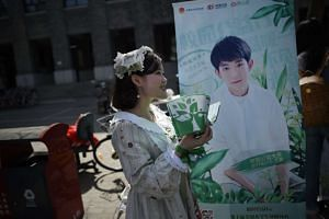 A woman handing out leaflets during an event for fans of China's boy band sensation TFBoys (The Fighting Boys) at a university in Beijing on April 14, 2017.