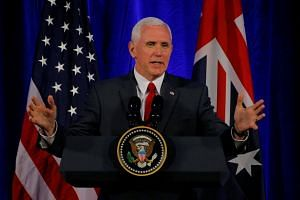 US Vice President Mike Pence delivering remarks to the CEOs of Australian-based companies in Sydney, Australia, on April 22, 2017.