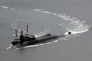The nuclear-powered submarine USS Michigan approaches a naval base in the southeastern port of Busan, South Korea.