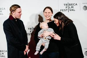 Actor Michael Pitt (left), New Narrative Director Award winner Rachel Israel (centre) and actress Clea Duvall attend the 2017 Tribeca Film Festival Awards Ceremony in New York on April 27, 2017.