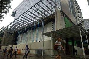 The construction site at Apple's new store in Orchard Road's Knightsbridge mall on July 28, 2016.