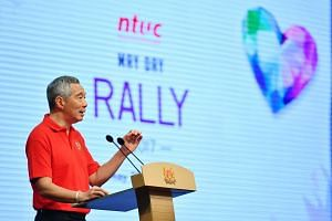 Prime Minister Lee Hsien Loong gives his keynote address at the Annual May Day Rally at Our Tampines Hub on May 1, 2017.