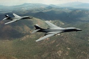 B-1B Lancer bombers soaring over the western US state of Wyoming. A pair of B-1B Lancer bombers flew training drills with the South Korean and Japanese air forces on Monday.