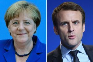 """German Chancellor Angela Merkel (July 28, 2016 in Berlin) and French presidential election candidate for the """"En Marche"""" movement Emmanuel Macron (March 4, 2017 in Caen)."""