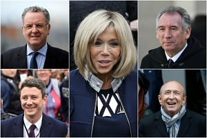 Clockwise from top left: Richard Ferrand, Brigitte Macron, Francois Bayrou, Gerard Collomb and Benjamin Griveaux.
