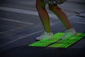 New in-ground traffic lights in Melbourne's city centre.