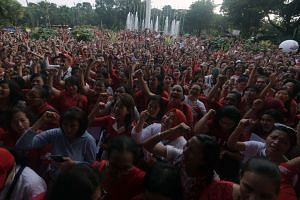 Supporters of Ahok gathering at city hall in Jakarta on Wednesday (May 10).