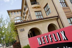 The Netflix company logo at the Netflix headquarters in Los Gatos, California.