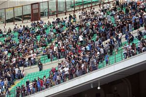 Inter supporters leave the stadium to protest against the club's management during the Italian Serie A football match between Inter Milan and US Sassuolo at Giuseppe Meazza stadium in Milan, Italy on May 14, 2017.