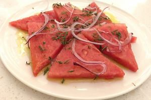 Watermelon, Onions, Herbs, Extra Virgin Olive Oil ($5)