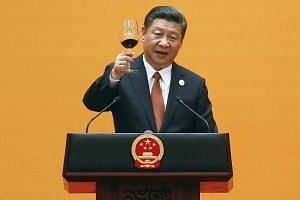 Chinese President Xi Jinping makes a toast during the welcoming banquet for the Belt and Road Forum  in Beijing on Sunday (May 14)