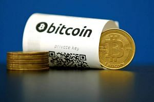 A Bitcoin paper wallet with QR codes and a coin.