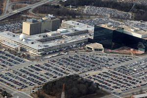 An aerial view shows the National Security Agency (NSA) headquarters in Ft. Meade, Maryland.
