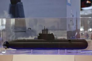 The model of a Type-218SG submarine on display at the Imdex Asia 2017 Maritime Defence Show at Changi Exhibition Centre on Tuesday (May 16).
