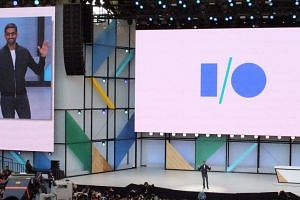 Google chief executive Sundar Pichai speaks of Google infusing all its services with artificial intelligence at its annual developers conference in Mountain View, California, on May 17, 2017.