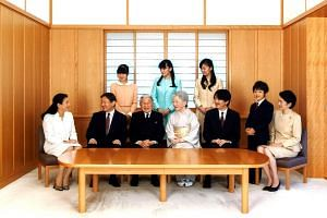 The royal family during a family photo session for the New Year at the Imperial Palace in Tokyo, on Nov 5, 2015.