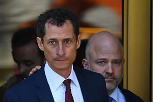 Former US Congressman Anthony Weiner leaves Federal Court in New York on May 19, 2017 after pleading guilty to one count of sending obscene messages to a minor.