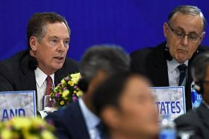 US Trade Representative Robert Lighthizer (left) at a conference held on the sidelines of the Apec 23rd Ministers responsible for Trade Meeting, on May 21, 2017.
