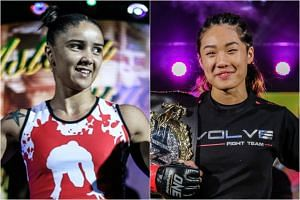 Istela Nunes (left) will face defending champion Angela Lee at One Championship's Dynasty of Heroes for the ONE Women's Atomweight World Championship at the Singapore Indoor Stadium on May 26, 2017.