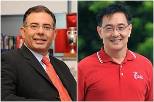 Singapore Sports Hub chief executive officer Manu Sawhney (left) has resigned and will be taken over by chief operating officer Oon Jin Teik.