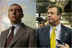 The offer by Mr  Oleg Deripaska (left) comes amid increased attention to his ties to President Donald Trump's former campaign manager Paul Manafort (right).