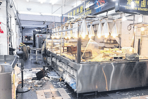 The four customers allegedly wrecked the Teochew porridge restaurant after getting into a heated argument with staff over their $28 bill.