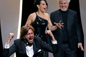A jubilant director Ruben Ostlund, a Palme d'Or award winner for his film The Square.