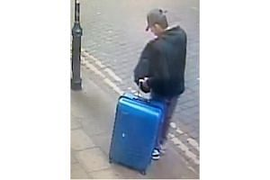 Salman Abedi with a blue suitcase in the centre of Manchester on the day he committed the attack on the Manchester Arena on May 22, 2017