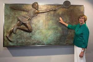 Former Australian tennis champion Margaret Court posing at the opening of the Margaret Court Arena on Jan 26, 2015.