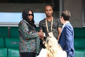 Serena Williams (left) leaves after attending her sister US Venus' match, May 31, 2017.