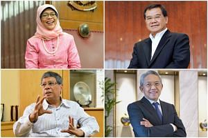 (Clockwise from top left) Madam Halimah Yacob, Mr Abdullah Tarmugi, Mr Bahren Shaari and Mr Mohamed Salleh Marican are some of the prominent names floated as potential candidates.