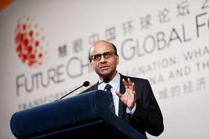 Deputy Prime Minister Tharman Shanmugaratnam speaking at the closing session of the FutureChina Global Forum.