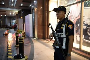 A security man stands guard outside Resorts World in Pasay City, Metro Manila Philippines, on June 2, 2017.