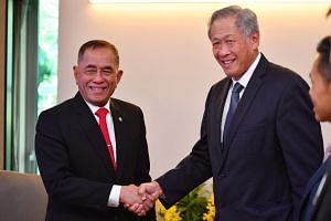 General (Rtd) Ryamizard Ryacudu, Minister of Defense, Indonesia, with Singapore Minister for Defence Dr Ng Eng Hen during a bilateral meeting.