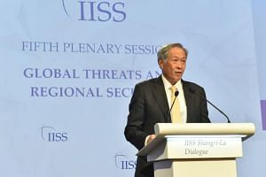 Minister for Defence Ng Eng Hen speaking during the plenary session on global threats and regional security at the 16th Shangri-La Dialogue on June 4, 2017.