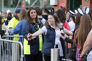 Security checks at US singer Ariana Grande's One Love Manchester concert at Old Trafford Cricket Ground in Manchester, Britain, on Sunday (June 4). Grande returned to Manchester for an all-star concert as a tribute to victims of a suicide bombing dur