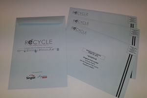 Those who are disposing of their electronic gadgets can use a ReCYCLE envelope to mail them in for recycling at no cost.