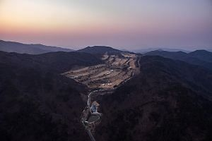 A March 18 file photo showing an aerial view of a golf course in Seongju, South Korea, where the US Terminal High Altitude Area Defence system has been deployed. Seoul agreed last year to deploy the system to guard against threats from nuclear-armed
