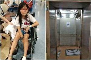 A 10-year-old girl was sent to KK Children's and Woman's Hospital after a ceiling panel in a Sengkang Housing Board block lift fell on her.