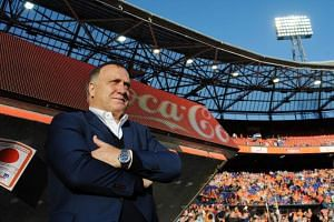 Ducth's head coach Dick Advocaat looks on during the FIFA World Cup 2018 qualification football match between Netherlands and Luxembourg in Rotterdam, on June 9 , 2017.