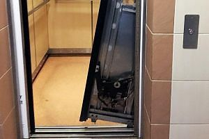A 10-year-old girl was sent to hospital after a ceiling panel in a Sengkang HDB lift fell on her. Left: Residents were trapped in a Geylang Bahru HDB lift for 30 minutes when its doors refused to open on reaching the ground floor.