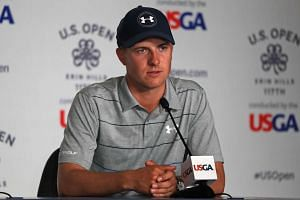 Spieth speaks during a press conference, June 13, 2017.