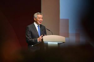 Prime Minister Lee Hsien Loong speaking at the official opening of the inaugural Singapore International Cyber Week.